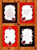 Ladybug cards set vector illustration