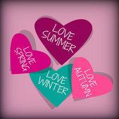 Srdce s roční období banner vektorové ilustrace