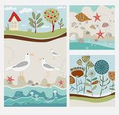 ptáci a květiny banner vektorové ilustrace