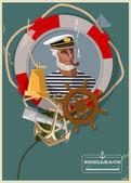 tengeri banner vektoros illusztráció