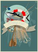 Halászati klub accesoires. Vektoros illusztráció