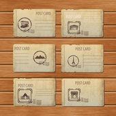 sada cestovních historických pohlednic