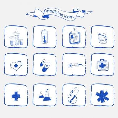 Medicine icons sketch set stock vector