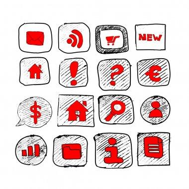 Web icons sketch set stock vector