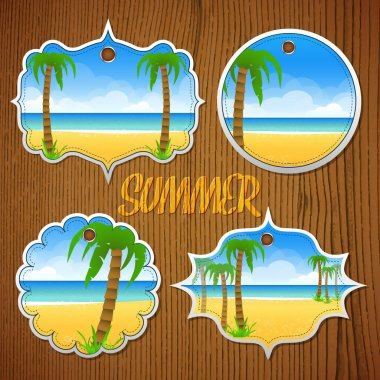 Medallions with palm trees stock vector