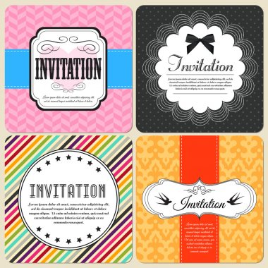 Invitation cards set  banner vector illustration stock vector