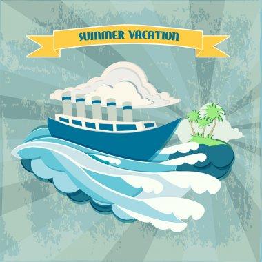 Summer vacation background  banner vector illustration stock vector