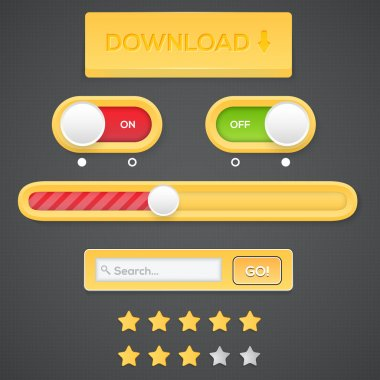 Web buttons with searchbar stock vector
