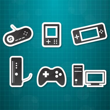 Video game icons set stock vector