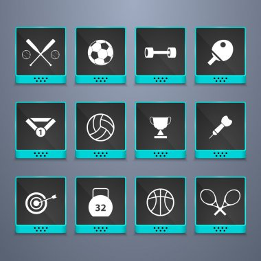 Sports web buttons set stock vector