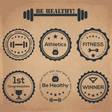 Be healthy! vintage labels stock vector