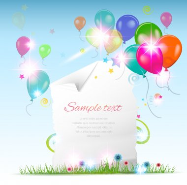 Holiday card with baloons stock vector