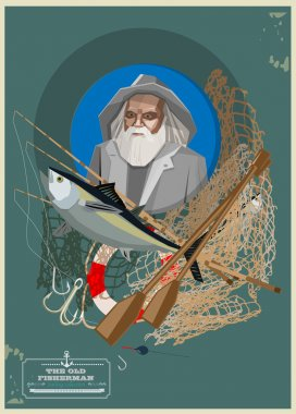 Old fisherman with fishing equipment isolated on blue. Vector illustration stock vector