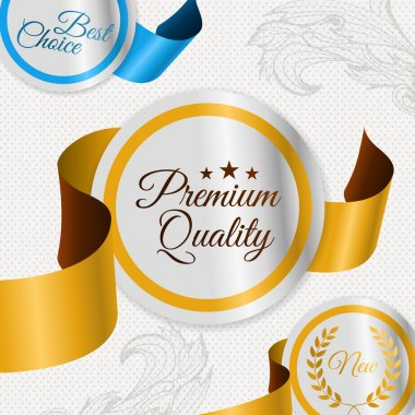 Set of vector labels for premium quality items stock vector