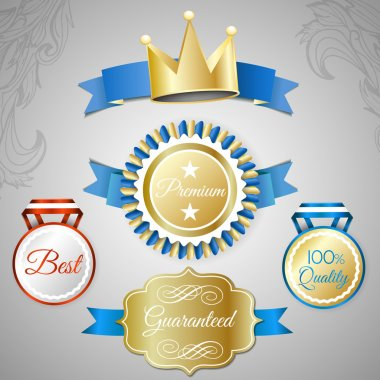 Set of vintage style icons for best quality goods stock vector