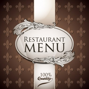 Vector template for restaurant menu. Brown and white colors stock vector
