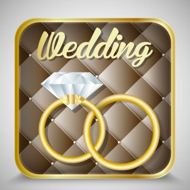 Golden wedding rings with diamond on brown retro background stock vector