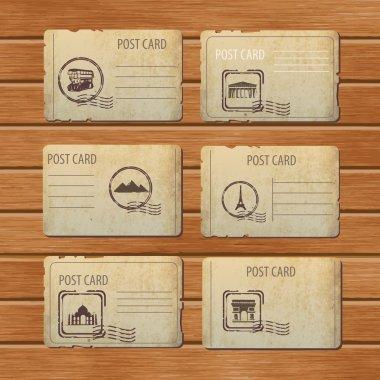 Set of travel vintage postcard designs stock vector