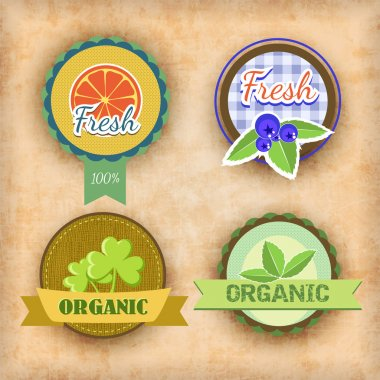 Vector set of labels for health food stock vector