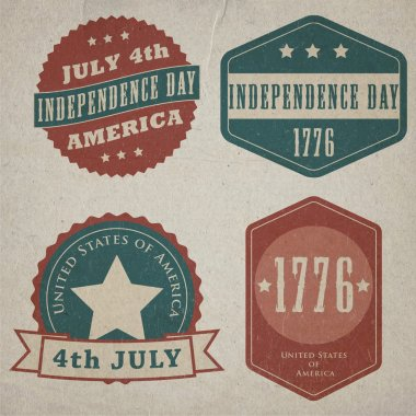 Vector independence day lables. Retro vintage version stock vector