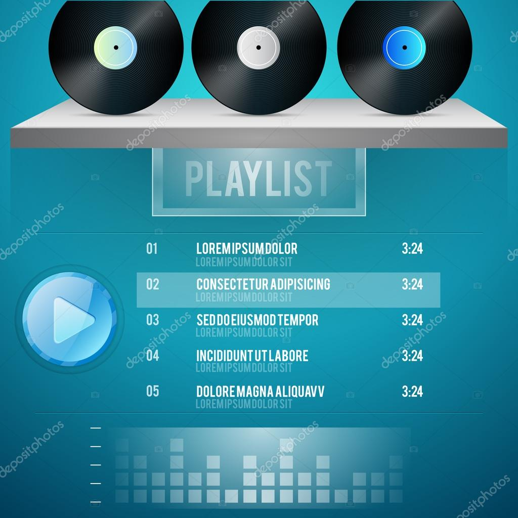 Vector template for music playlist stock vector