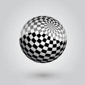 Black and white checkered sphere. Vector illustration.