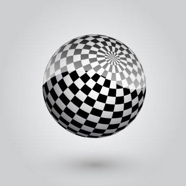 Black and white checkered sphere. Vector illustration. stock vector