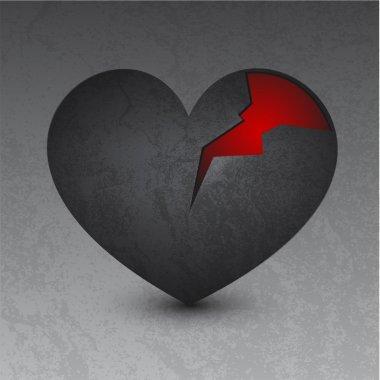 Vector illustration of a black broken heart stock vector