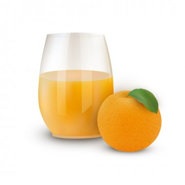 Glass of juice with orange. Vector illustration stock vector