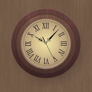 Vector illustration of a wooden wall clock. stock vector