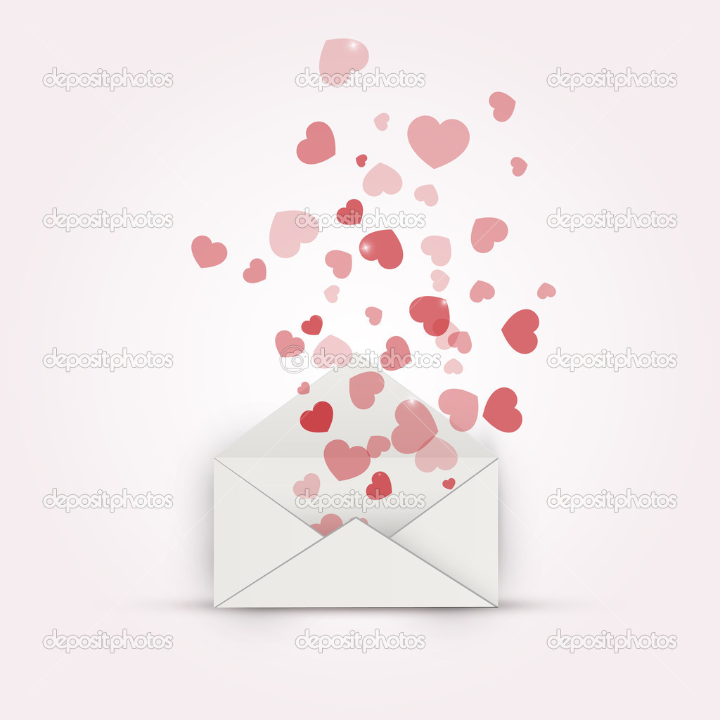 Vector illustration of envelope with hearts. stock vector