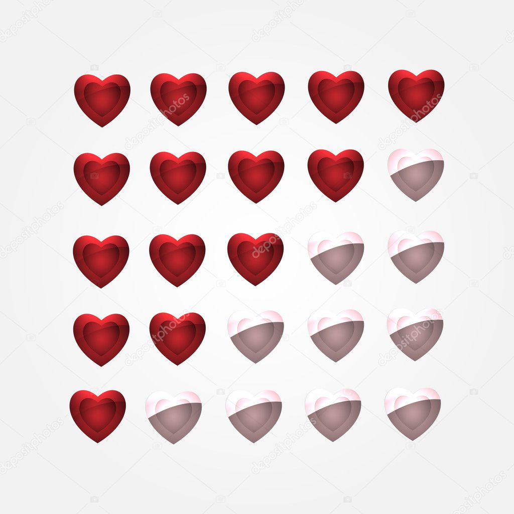 Vector set of heart buttons stock vector