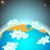 planeta Země se mraky - vektorové ilustrace