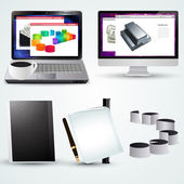 Vector office laptop with business diagram, computer, cup and office accessories