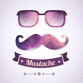 Nerd glasses and mustaches. Vector Illustration