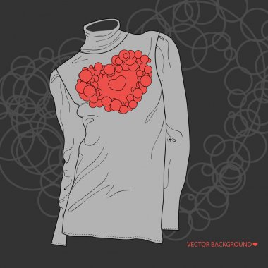 Vector illustration of a blouse with heart. stock vector