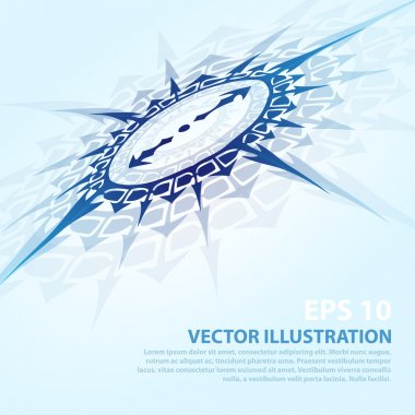 Vector background with blue compass. stock vector