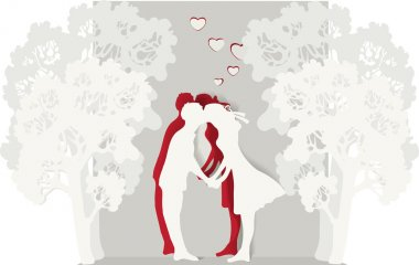 Vector illustration of a kissing couple. stock vector