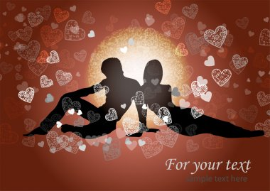 Valentine's background with couple in love. stock vector
