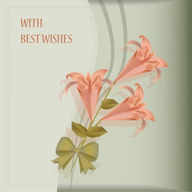 Beautiful card with pink lilies. Vector illustration stock vector