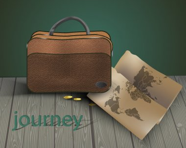 Travel bag with map.