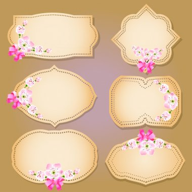 Collection of floral retro grunge labels, banners and emblems with an empty seat for your text stock vector