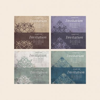 Set of Beautiful Retro Cards - for invitation stock vector