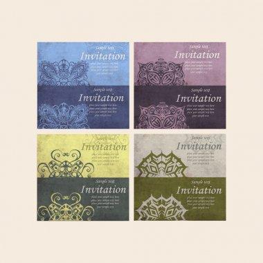 Set of Beautiful Retro Cards - for invitation stock vector