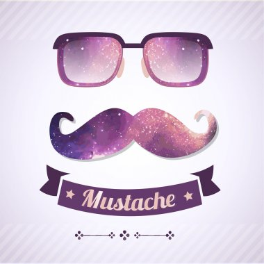 Nerd glasses and mustaches. Vector Illustration stock vector