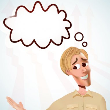 Smiling young man with speech bubble stock vector