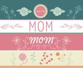 Sada den matek Blahopřejné nápisy jarními květy. Vektorové ilustrace