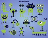 Reihe grüner Cartoon-Monster. Vektorillustration