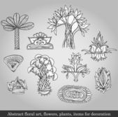Abstract floral art, flowers, plants, items for decoration on gray background. Vector illustration in retro style