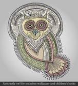 Vector illustration of owl for seamless pattern and childrens books